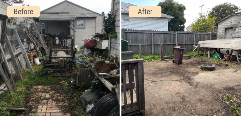 Before and After comparison photos of the yard